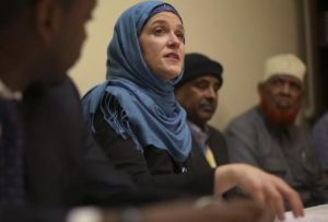 Minneapolis Mayor Betsy Hodges speaking to Somali elders and others in Minneapolis
