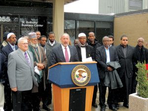 U.S. Attorney for Minneapolis Andrew Lugar (at podium) speaks on behalf of Jihadis in MN