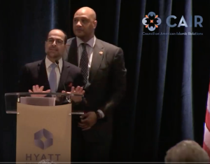 U.S. Congressman Andre Carson (IN Democrat), seen standing with U.S. Hamas Leader Nihad Awad, speaks at Hamas event held January 10, 2019 at the Hyatt Crystal City in Arlington, Virginia.