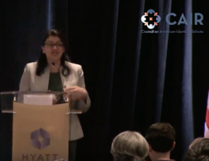 U.S. Congresswoman Rashida Tlaib (MI Democrat) speaks at Hamas event held January 10, 2019 at the Hyatt Crystal City in Arlington, Virginia.